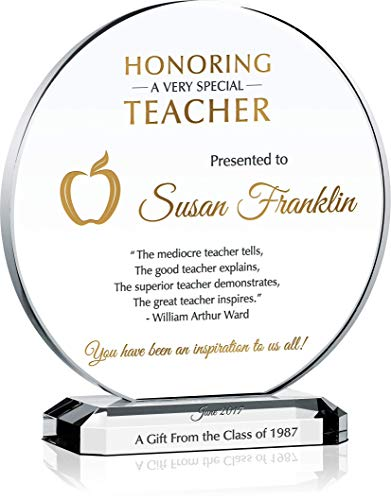Personalized Crystal Teacher Appreciation Gift Plaque, Customized with Teacher and Gift giver's Name, Unique End of Year of Christmas Thank You Gift idea for Teacher, Coach, Professor (L - 8