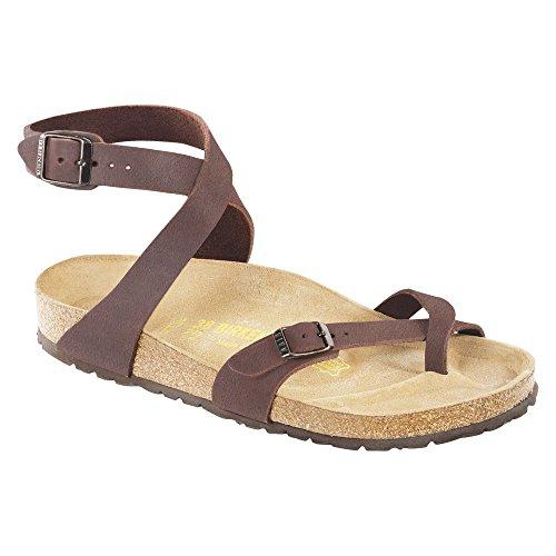 Birkenstock Women's Yara Mocha Birkibuc Sandals (R), Mocha, 38