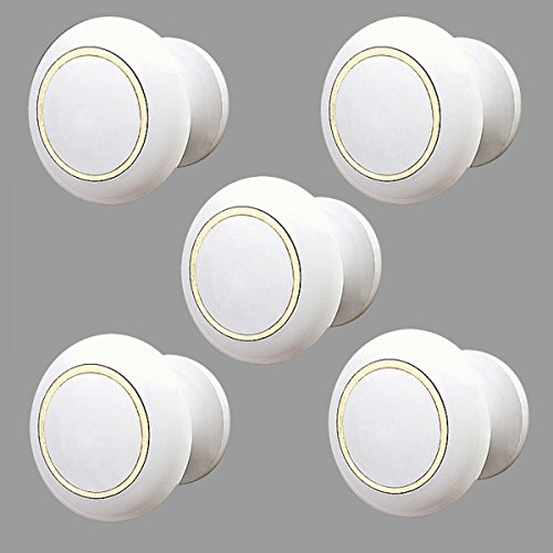 Cabinet Knobs White Enamel Over Solid Brass 1 Inch Diameter 5 ()