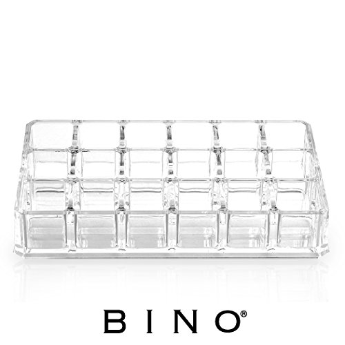 BINO 'The Lipstick Stadium' 18 Compartment Acrylic Lipstick Organizer, Clear and Transparent Cosmetic Beauty Vanity Holder Storage