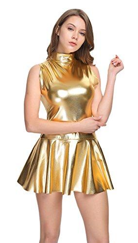 WOLF UNITARD Shiny Club Dress Sleeveless Metallic Dresses for Women Medium Gold