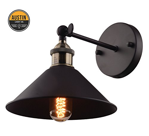 Metal Wall Sconce Light Fixture – 8.7 inch diameter – (1 Light) Vintage Industrial Loft Style - Great lighting fixture for bathroom, dining room, kitchen or bedroom