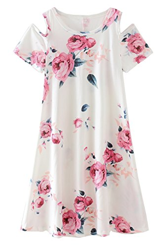 COONITA Girl's Kids Cute Cold Shoulder Floral Print A-Line Loose Casual Midi Tank Dress,Size 10,White -