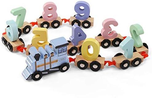 プッシュプル木製ソーター列車、形状認識教育玩具、3歳以上の男の子と女の子のための完全なギフト (色 : Blue)