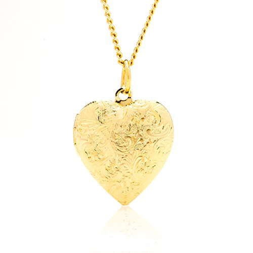 [Best Heart Locket Necklace That Holds Pictures, 24K Gold Overlay 18