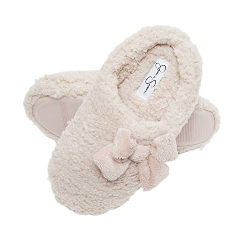 Jessica Simpson Womens Plush Marshmallow Slide On House Slipper Clog with Memory Foam (Size Medium, Pink)
