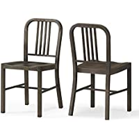Set of 2 Bronze Metal Chairs with Back in Glossy Powder Coated Finish Steel Dining Indoor Includes ModHaus Living (TM) Pen