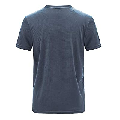 Men's Sport T-Shirt, Quick Dry Fit Athletic Short Sleeve Workout Fitness Gym Running Compression Baselayer T-Shirts Gray: Clothing