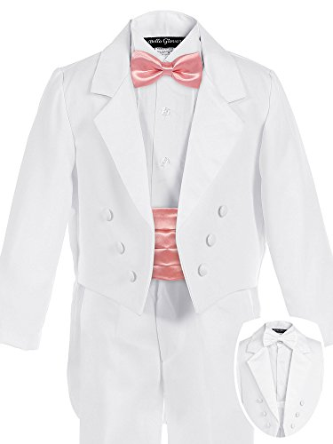 Bello Giovane Boys White Penguin Tuxedo with Colored Cummerbund 7 Piece Set