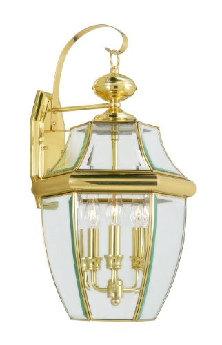 Livex Lighting 2351-02 Monterey 3 Light Outdoor Polished Brass Finish Solid Brass Wall Lantern  with Clear Beveled Glass - Classic Polished Brass Lantern