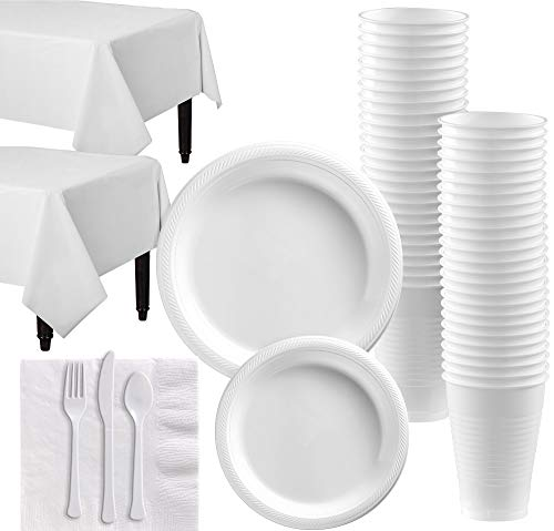 Amscan White Plastic Tableware Kit for 50 Guests, Party Supplies, Includes Table Covers, Plates, Cups and More