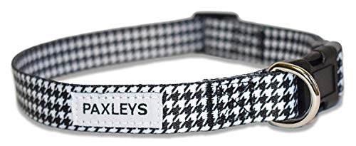 (Paxleys Black and White Houndstooth Dog Collar for Small, Medium and Large Dogs - Weatherproof and Water Resistant, Adjustable for Dogs (Neck Size - 15.5