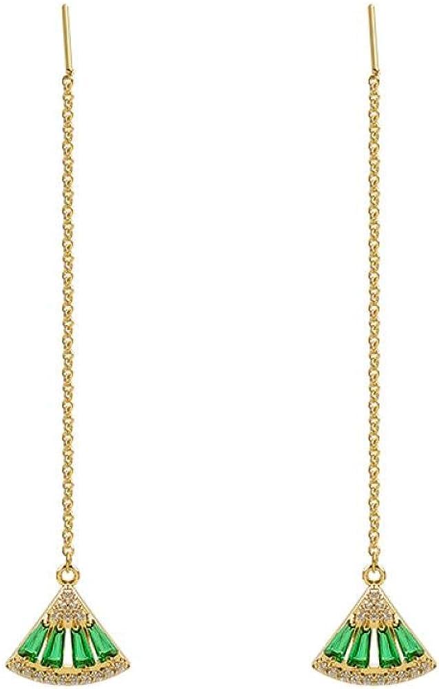 Pendientes de piedras preciosas de esmeralda, colgantes de abanico, artesanía de circón de lujo ligero premium, agujas de plata s925, pendientes elegantes de mujer, 6.2 cm