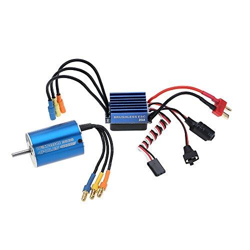 GoolRC 2838 4500KV 4P Sensorless Brushless Motor & 35A Brushless ESC Electronic Speed Controller for 1/14 1/16 1/18 RC Car ()