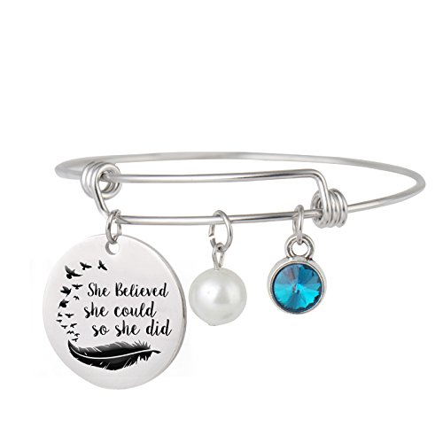 Aoloshow Adjustable Wire Bangle Bracelet Charm Gifts for Women Girls -She Believed she Could so she did