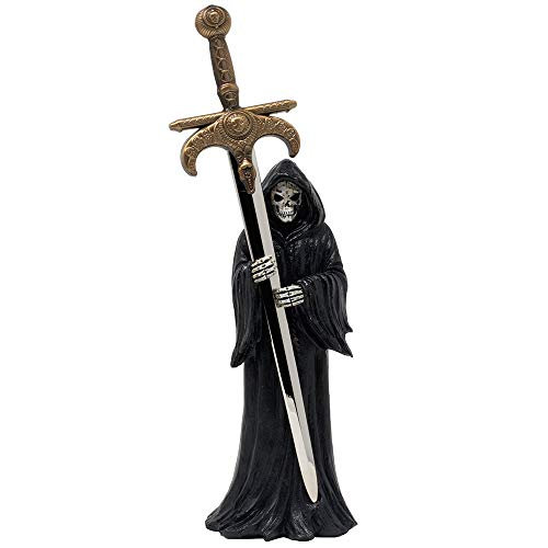 Evil Grim Reaper with Death Sword Letter Opener Statuette for Spooky Halloween Decorations and Horror Movie Gothic Décor Figurines or Decorative Office Gifts for Men -