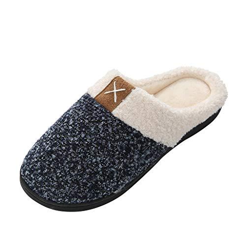 TnaIolral Women's Cozy Memory Foam Slippers Fuzzy Wool-Like Plush Fleece Lined House w/Indoor, Outdoor Anti-Skid Rubber Sole (Pony Ladies W Footwear)