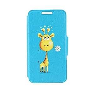 HC- kinston jirafa darle flores patrón de cuero de la PU caso de cuerpo completo con soporte para el iphone 5 / 5s