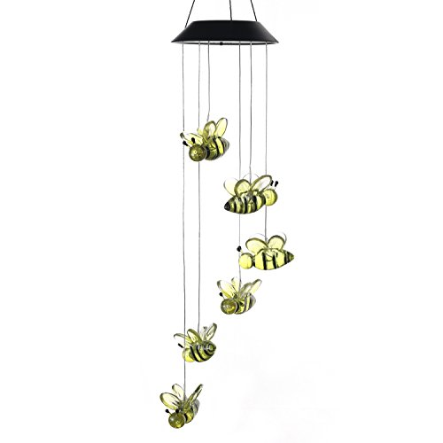Changing Color Solar Powered Wind Moblie LED Light, AceList Spiral Spinner Windchime Portable Outdoor Chime for Patio, Deck, Yard, Garden, Home, Pathway