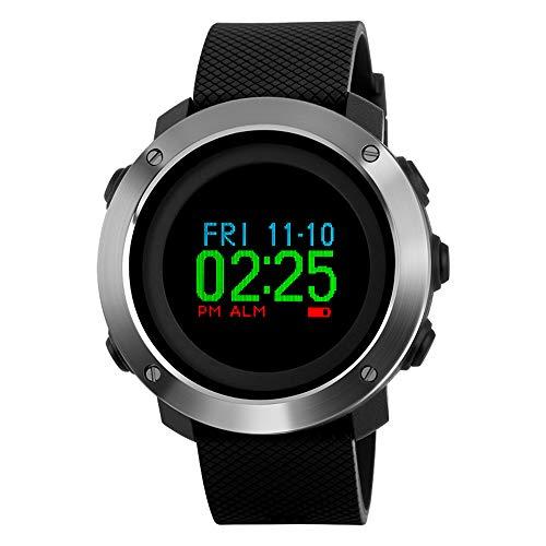 Pedometer Digital Watch, Men's Compass Watch Step Counter Timer Stopwatch Waterproof 50M Alarm, None Bluetooth Fitness Watch ...