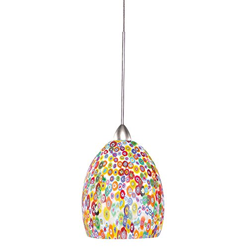 WAC Lighting MP-515-MF/CH Fiore 1-Light 12V MonoPoint Pendant with Millefiori Shade and Chrome (Rail Monopoint Connector)