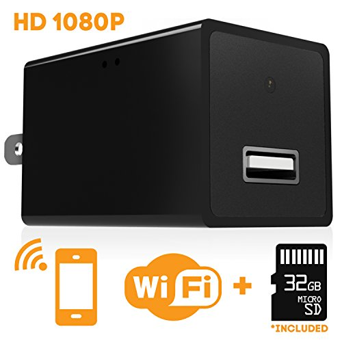 Twobros Hidden WIFI Security Spy Camera USB Charger Adapter + 32gb Micro SD Card + App + Covert 1080P HD Mini Wireless Pinhole IP Nanny Cam Gear - Home Surveillance Video Cameras with Motion Detection - Wifi Webcam Recorder