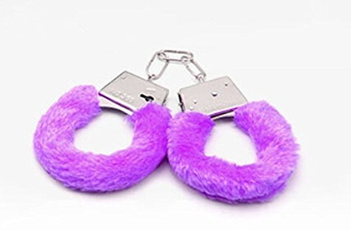 XJG Furry Fuzzy Handcuffs Stylish Soft Metal Adult Night Party Game YEF Pink one size