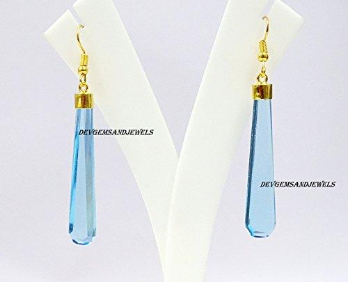 - Sky Blue Topaz Hydro Flat Long Pear Earrings Gold Cap Fish Hook Dangle / Bohemian Long Earrings Handmade Jewellery 1 Pair