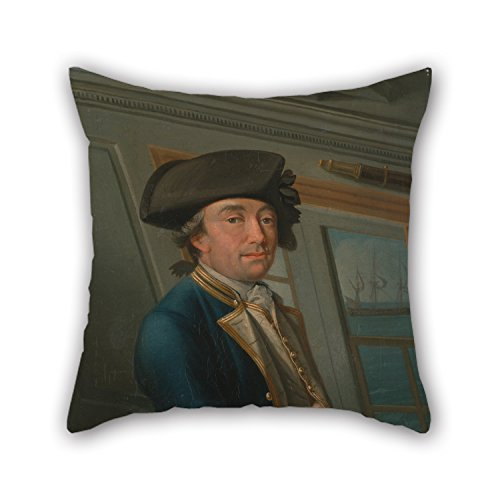 noerese The Oil Painting Dominic Serres - Captain William Locker Pillow Cases of 20 X 20 Inches / 50 by 50 cm Decoration Gift for Lounge Adults Indoor Boy Friend Him Study Room (2 Sides)