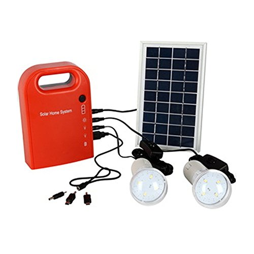 HONYAFA Portable Solar Panel Power Generator 2 LED Home Lighting System USB Port with Cell Phone Chargers Included For Sale