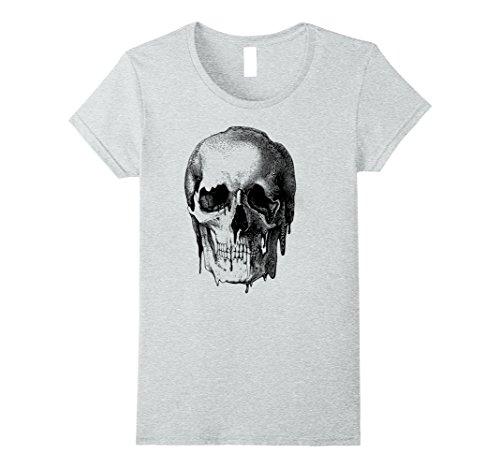 Womens Melting Skull Etching Edgy Graphic T-Shirt Medium Heather Grey