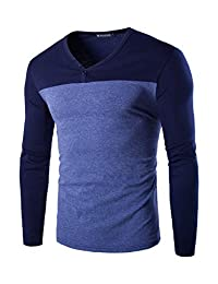 uxcell Men Color Block Long Sleeves Henley T-shirt Top