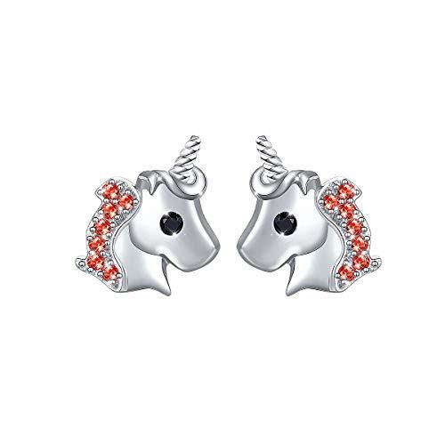 Yearace 925 Sterling Silver Hypoallergenic Cute Red Cz Unicorn Stud Earrings Gift for Women Teen Girls (Nickel Free) (Red)