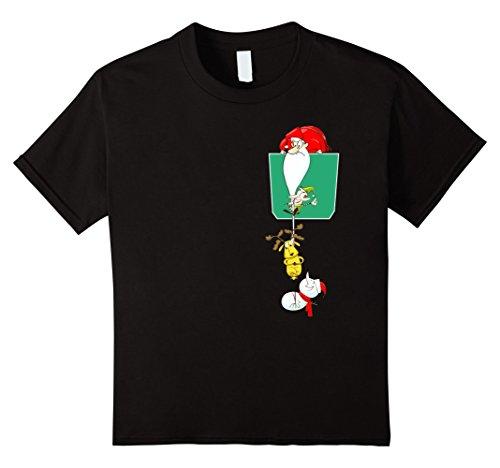 Kids Christmas T-Shirt Santa & Reinder Give Gift on Chimney 12 Black (Reinders Santas)