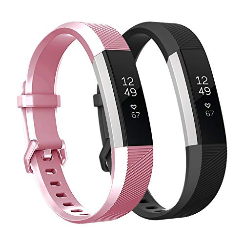 Fundro Replacement Bands Compatible with Fitbit Alta Bands and Alta HR Band, Newest Sport Strap Wristband with Secure Buckle for Women Men Boys Girls, 2- Pack(Black+Rosepink,Large)]()