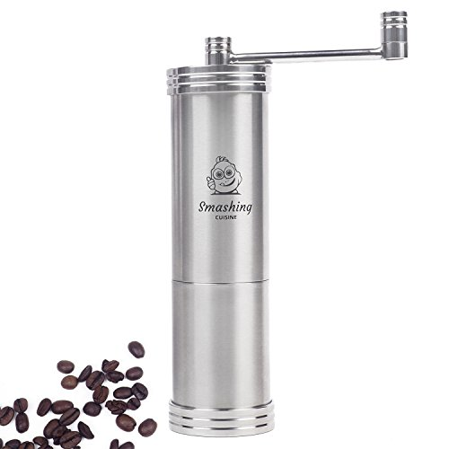 Manual Coffee Grinder with Stainless Steel Conical Burr – Portable and Adjustable Hand Crank Operated Coffee Mill – Perfect for Grinding Whole Coffee Beans from Fine to Coarse – Smashing Cuisine