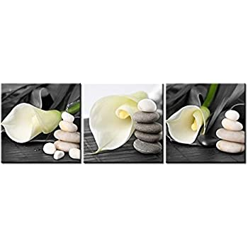 Superbe Canvas Print Wall Art Painting For Home Decor Still Life Of White Calla Lily  With Gray