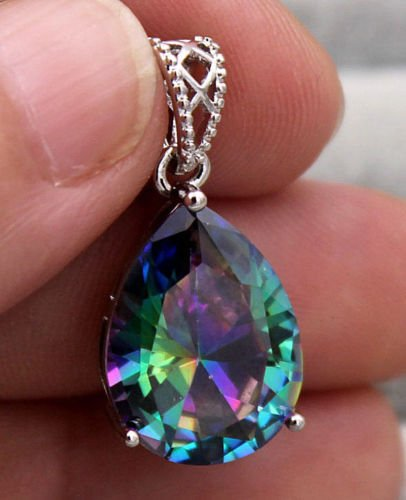 Phonphisai shop 18K White Gold Filled - 16MM Mystic Waterdrop Topaz Cocktail Lady Gems Pendant