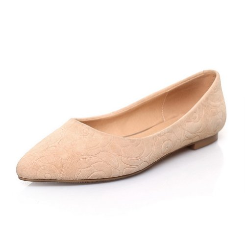 WeiPoot Womens Closed Po2015ted Sheepsk2015 Toe Frosted Sheepsk2015 Po2015ted Micro Fiber Solid Flats, Apricot, 7 B(M) US B00K8JNKDC Shoes d6cd57