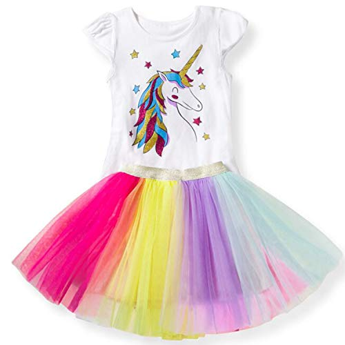(TTYAOVO Baby Girls' Unicorn Clothing Sets/Outfits with White Tops + Layered Rainbow Tutu Skirts Size 6-7 Years)