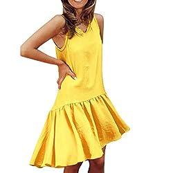 Uribake ?��??� Women Solid Sleeveless Tank Dress Ruched Flounce Summer Casual Beach Sundress Mini Dress Yellow