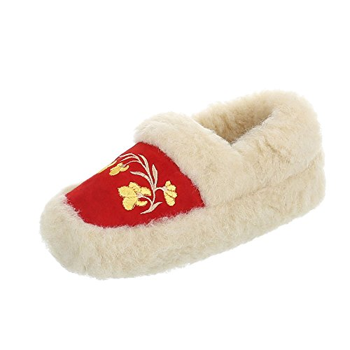 Hausschuhe Damenschuhe Pantoffeln Warm Gefütterte Ital-Design Freizeitschuhe Rot