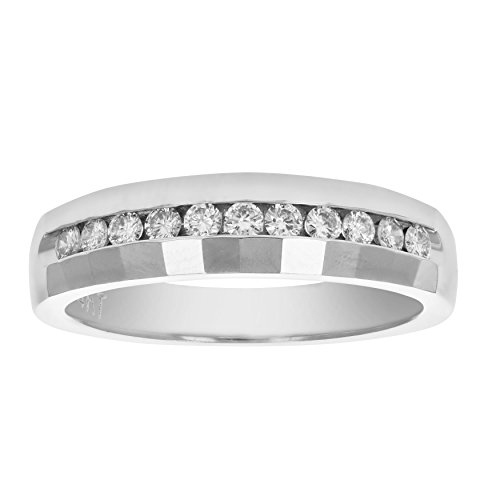 - Certified 1/4 cttw SI1-SI2 14K Gold Machine Set Diamond Wedding Band in Size 7