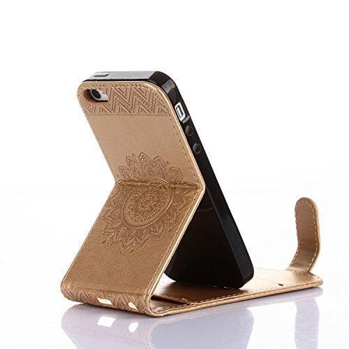 Für Apple iPhone 5 5G 5S / iPhone SE (4 Zoll) Tasche ZeWoo® Ledertasche Kunstleder Brieftasche Hülle PU Leder Schutzhülle Case Cover - GH012 / golden