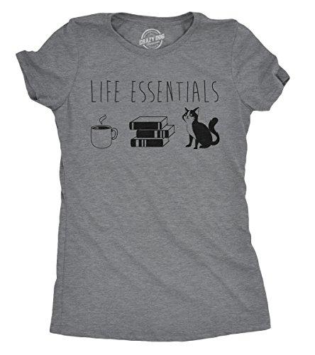 Womens Life Essentials Tshirt Funny Coffee Books Cat Lover Tee for Ladies (Dark Heather Grey) - L
