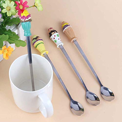 4pcs/set Coffee Cake Spoons Teaspoon Cute Ice Cream Decorated Stainless Steel Spoon Set Dinnerware Set DA with ()