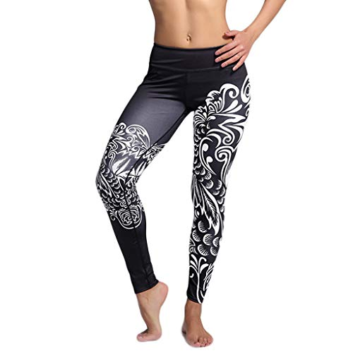 Yetou Womens Tummy Control Workout Printed High-Waist Hip Stretch Running Fitness Yoga Pants Black