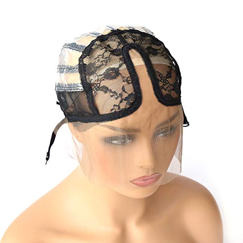 Colorfulwigs U Part Wig Cap with Lace for Wigs Making with Adjustable Strap Middle Part Medium Size Black Weaving Wig Cap for Women Girls DIY Wigs (1pc-Black) (Best Weaving Cap For U Part Wig)