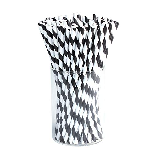 Paper Straws Diodegradable 200 Pack - Ystdom Black Stripe Paper Drinking Straws- Bulk Disposable Straws for Cocktail,Juices, Shakes, Smoothies, Graduation Party Supplies 2019 Decorations]()