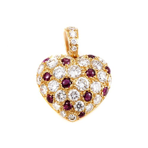 CARTIER 18K Yellow Gold Diamond & Ruby Pave Heart Pendant